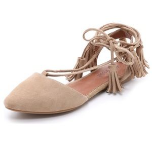 Jeffrey Campbell Amour Nude Suede Flats Lace Up